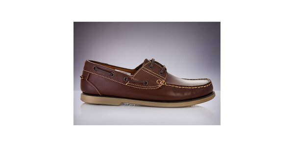 Pánske tmavo hnedé topánky z kože DEK
