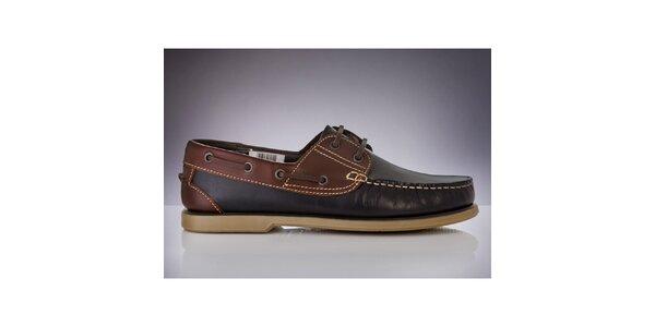 Pánske tmavo modré topánky s hnedými časťami DEK