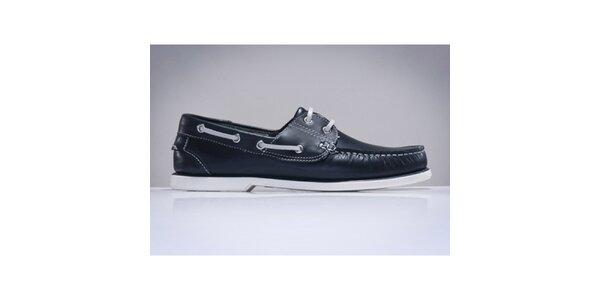Pánske tmavo modré topánky z kože DEK
