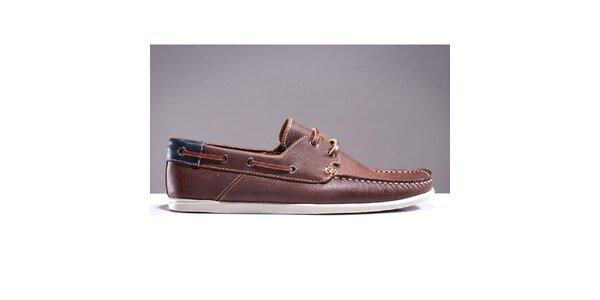 Pánske hnedé topánky s prešívanou špičkou DEK