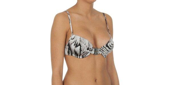 Dámska šedo žíhaná plavková podprsenka s kosticami Calvin Klein