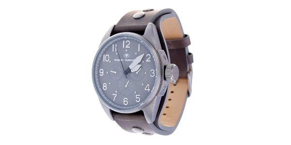 Pánske hodinky Tom Tailor s hnedým koženým remienkom a tmavo šedým ciferníkom