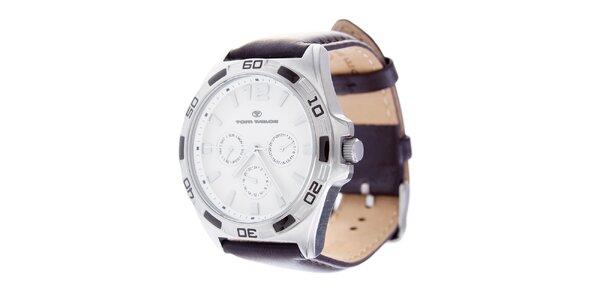 Štýlové náramkové hodinky Tom Tailor s tmavo hnedým koženým remienkom