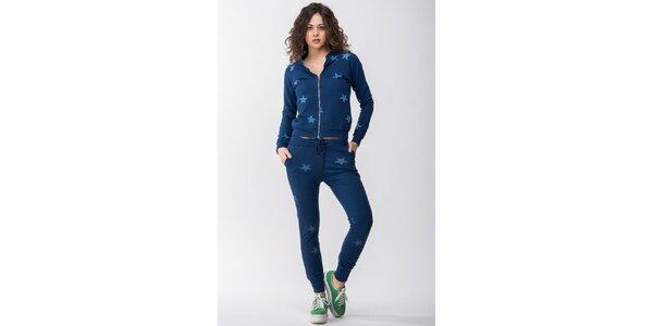 Dámska modrá súprava s hviezdičkami - mikina a nohavice Sixie