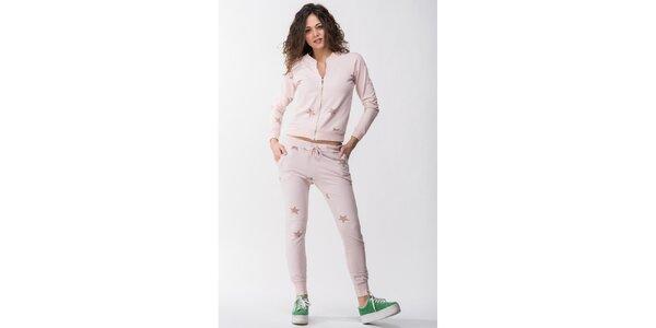 Dámska ružová súprava s hviezdičkami - mikina a nohavice Sixie