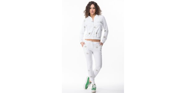 Dámska biela súprava s hviezdičkami - mikina a nohavice Sixie