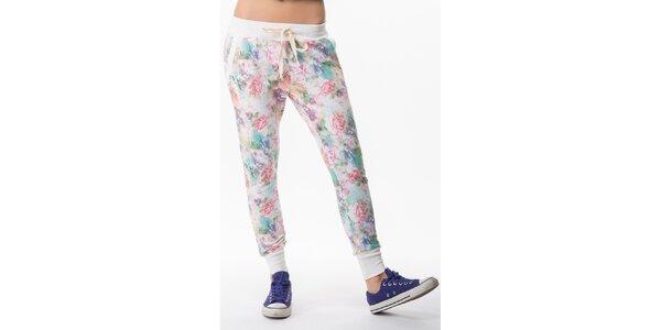 Dámske nohavice s farebnou kvetinovou potlačou Sixie