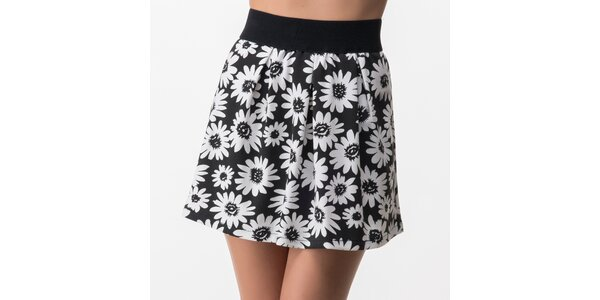 Dámska čierna sukňa s bielymi kvetmi Sixie