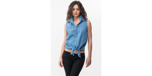 Dámska modrá denimová košeľa bez rukávov Sixie
