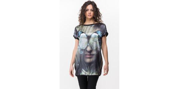Dámske čierne tričko s výraznou potlačou Sixie