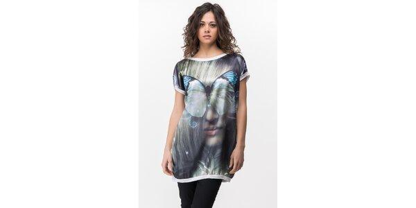 Dámske biele tričko s výraznou potlačou Sixie