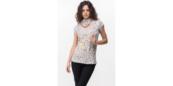 Dámske tričko s hviezdičkami a šatkou Sixie