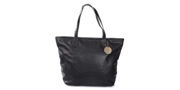 Dámska čierna kabelka na zips London Fashion