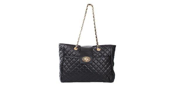 Dámska prešívaná kabelka v čiernej farbe London Fashion