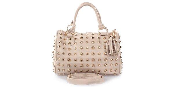 Dámska svetlo béžová kabelka s hrotmi London Fashion