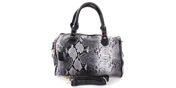 Dámska šedo-čierna kabelka s hadím motívom London Fashion