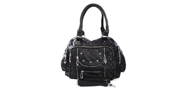 Dámska čierna kabelka s prešívaním London Fashion