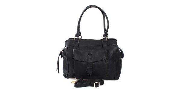 Dámska čierna kabelka s dvomi ušami London Fashion