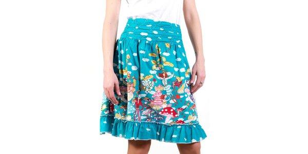 Dámska modrá sukňa s obláčikmi a vílami Barbarella