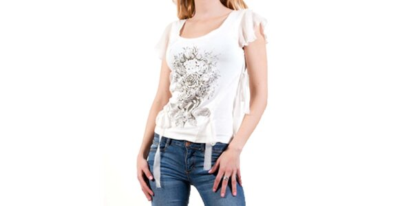 Dámske biele tričko s priehľadnými rukávmi Barbarella