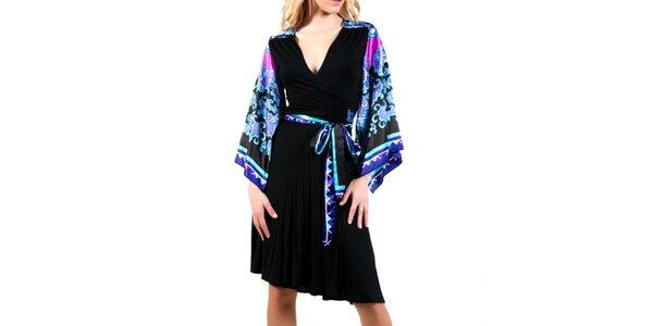 Dámske čierne šaty s modrými rukávmi Barbarella