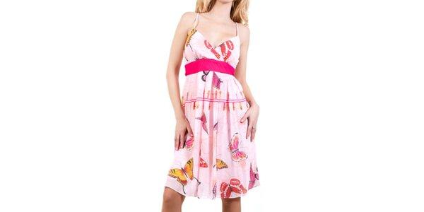 Dámske ružové šaty s motýlikmi Barbarella