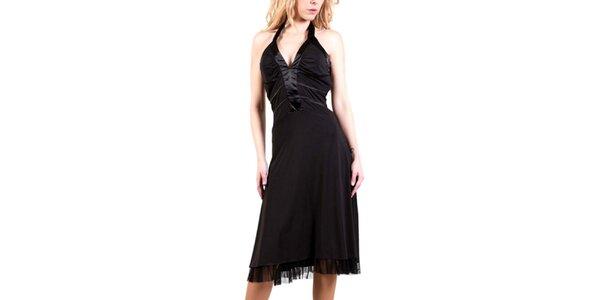 Dámske čierne šaty s mašľou za krkom Barbarella