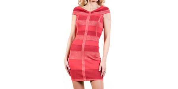 Dámske korálové upnuté šaty Barbarella