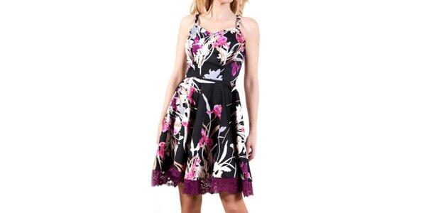Dámske čierne šaty s fialovými kvetmi Barbarella