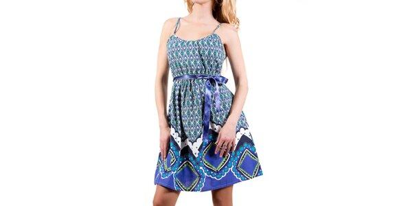 Dámske modré šaty so stuhou Barbarella