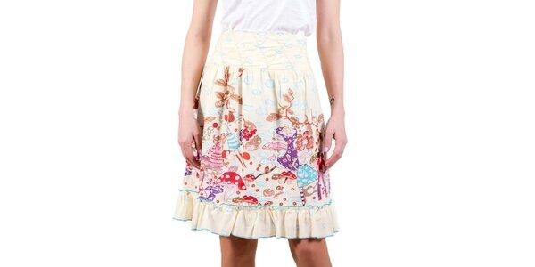 Dámska smotanová sukňa s obláčikami a vílami Barbarella