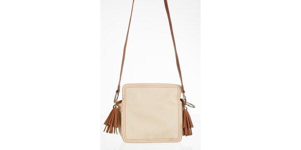Krémová kabelka s hnedými strapcami