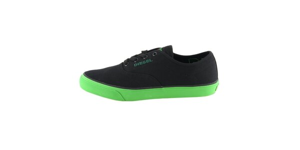 Pánske čierne tenisky so zelenou podrážkou Diesel