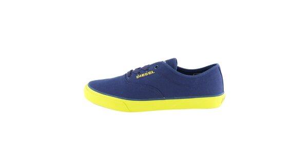 Dámske modré tenisky so žltou podrážkou Diesel