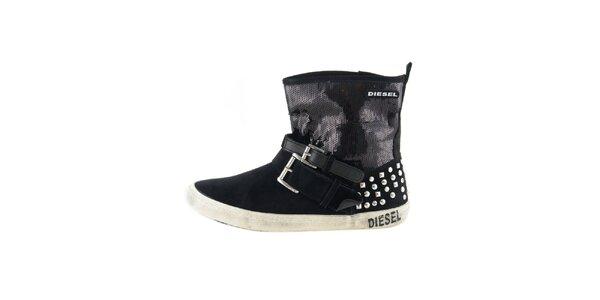 Dámske čierne členkové topánky s flitrami Diesel