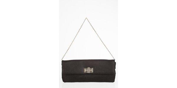 Čierna obdĺžniková kabelka s otočnou sponou
