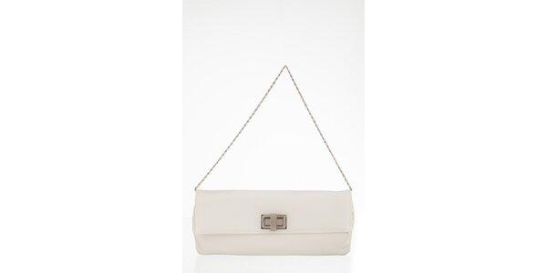 Biela obdĺžniková kabelka s otočnou sponou