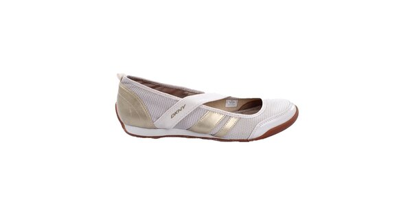 Dámske krémové topánky so zlatými prúžkami DKNY Active