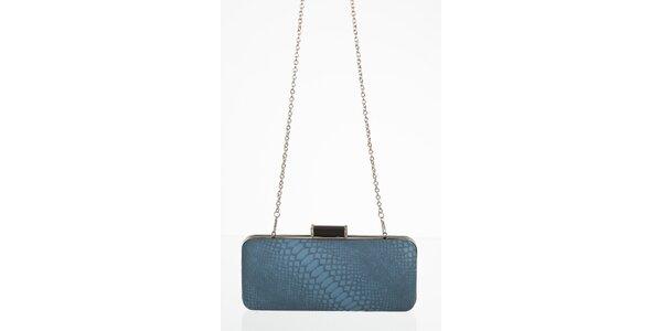 Petrolejovo modrá kabelka s motívom hadej kože
