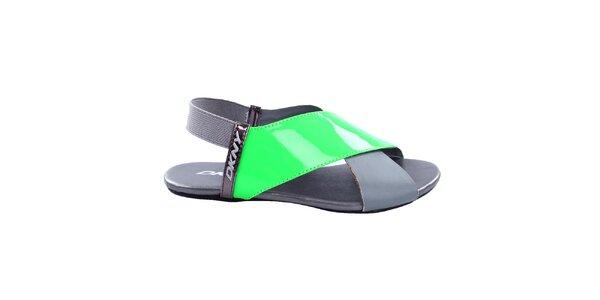 Dámske šedé sandále so zeleným remienkom DKNY Active