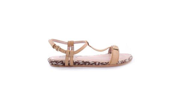Dámske nízke béžové remienkové sandálky DKNY