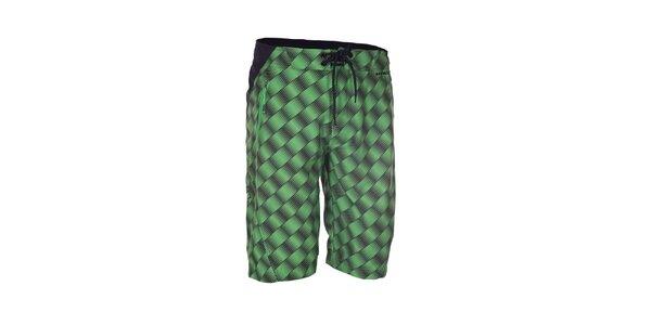 Pánske zeleno-čierne potlačené šortky Envy