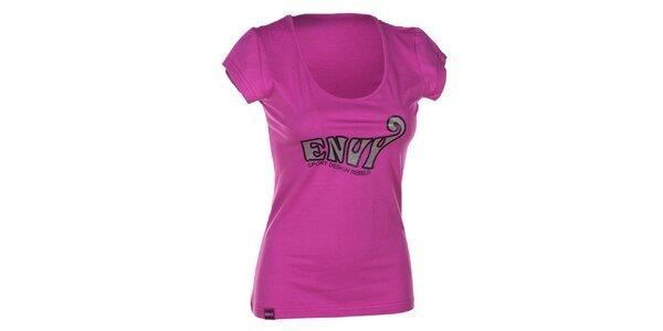 Dámske ružové bavlnené tričko s krátkym rukávom Envy