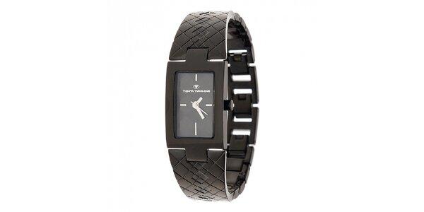 Dámske čierne oceľové hodinky Tom Tailor