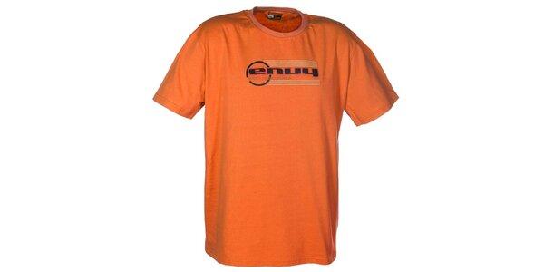 Pánske oranžové tričko s potlačou loga Envy