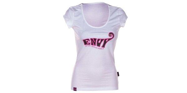Dámske biele bavlnené tričko s krátkym rukávom Envy