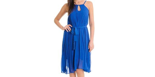 Dámske kobaltovo modré šaty so skladanou sukňou Goa Goa