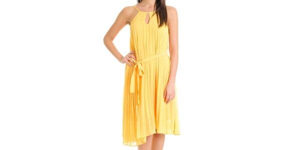 Dámske kanárikovo žlté šaty so skladanou sukňou Goa Goa