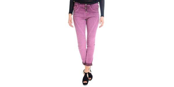 Dámske ružovofialové nohavice s gombíkovým zapínaním Goa Goa