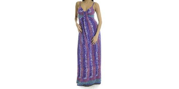 Dámske fialové dlhé šaty s hviezdičkami Goa Goa